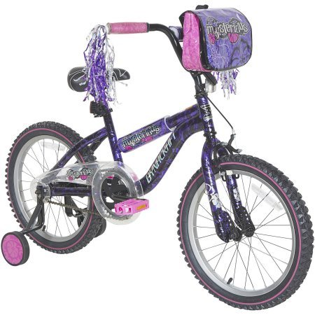 Exceptional,Super Comfortable Dynacraft 18'' Girls' Mysterious Bike,With Durable Steel Frame,Vibrant Floral Logos, Decorative Padded Seat,Bag,Training Wheels,Black/Purple/Pink