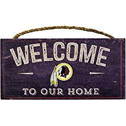 Washington Redskins NFL Team Logo Garage Home Office Room Wood Sign with Hanging Rope - WELCOME TO OUR HOME