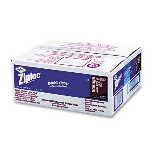 Ziploc Double Zipper Bags, Plastic, 1 gal, 1.75 mil, Clear w/Write-On Panel - 250 double zipper bags. (Mil 1.75 Plastic Bag)