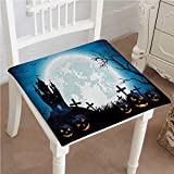 Mikihome Outdoor Chair Cushion Spooky with Halloween Icons Harvest Festival in Dark Blue Comfortable, Indoor, Dining Living Room, Kitchen, Office, Den, Washable 24''x24''x2pcs