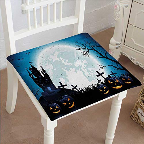 Mikihome Outdoor Chair Cushion Spooky with Halloween Icons Harvest Festival in Dark Blue Comfortable, Indoor, Dining Living Room, Kitchen, Office, Den, Washable 24''x24''x2pcs by Mikihome