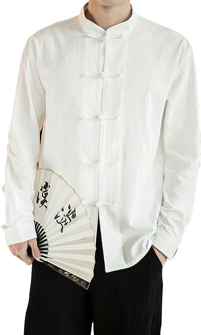 Liangzhu Hombres Collar De Pie Camisa Chaqueta Retro Tradicional Estilo Chino Mezcla De Lino Abrigos Traje Tang Leche Blanca 4XL: Amazon.es: Ropa y accesorios