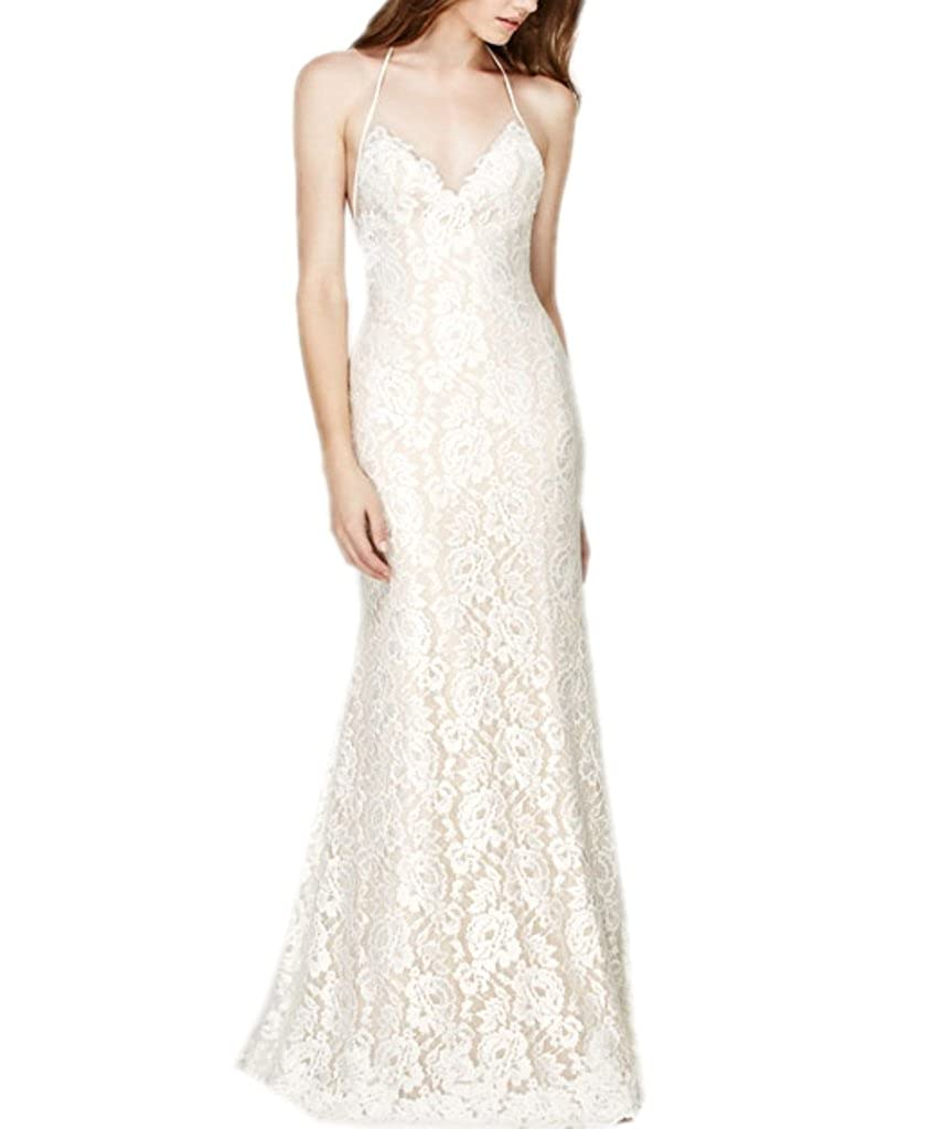 Ivory APXPF Women's Spaghetti Straps V Neck Sheath Lace Wedding Dress for Bride