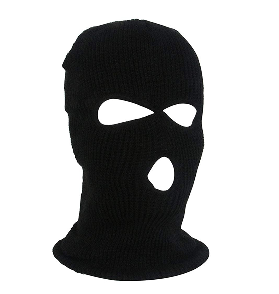 EYIIYE 2 Holes Knit Full Face Cover Ski Mask Adult Winter Balaclava Beanie for Outdoor Sport