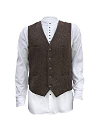 YSMO Men's Slim Tweed Waistcoat V-Neck Business Dress Suit Vest Wedding Party