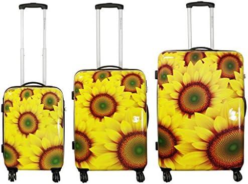 3 piezas Set Maleta im Designerprint GIRASOL Set maletas con rodamientos Maleta Casos de viajes Cartera pequeña