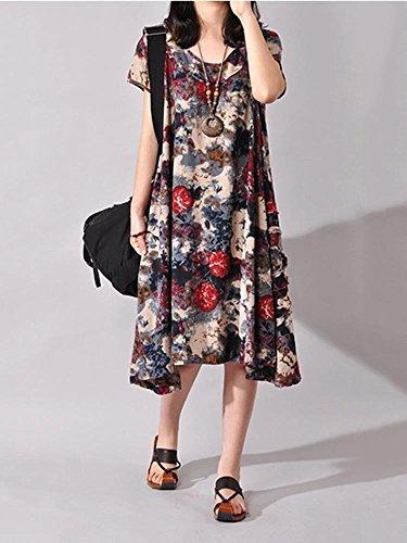Green Dress Cotton Patchwork Casual Women Flower Linen Printing WUwz7q0a