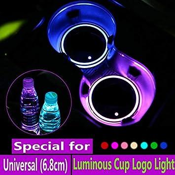 Teekit 2Pcs LED Car Cup Holder Lights 7 Colors LED Changing USB Charging Mat Car Interior Decor