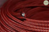 Fortunewill 10 ft 18 AWG 3-wire Black & Red Cloth Covered 3-Wire Round Pulley Cord, Vintage Pendant Lights UL Certificated