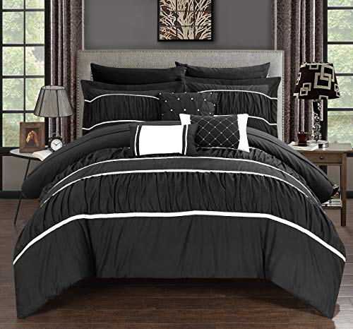 Chic Home Cheryl 10 Piece Comforter Complete Bag Pleated Ruched Ruffled Bedding with Sheet Set, King, Black (Comforter Set Black And Purple King)