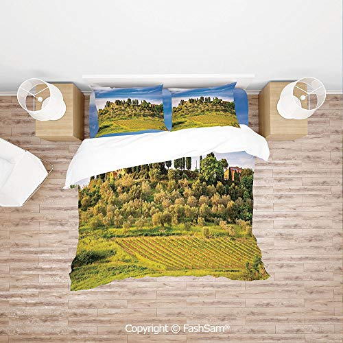 FashSam Luxury 4 Pieces Duvet Cover Bedding Set Green Field Tranquil Landscape Retro Stone Toscana Farmhouse Vineyard for Family(Double)