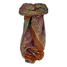 Mulberry Silk Traditional Square Scarf Yamuna Copper by Pashmina & Silk