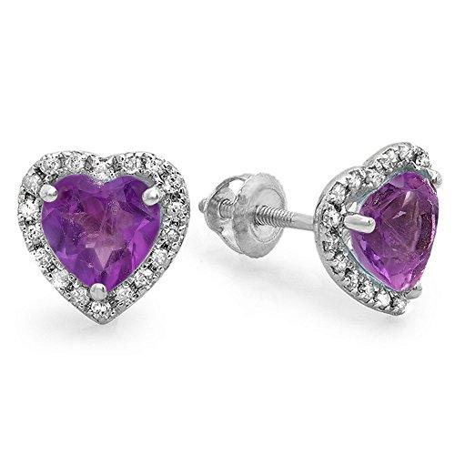 10K White Gold Heart Shape Amethyst & Round Cut Diamond Ladies Halo Stud Earrings