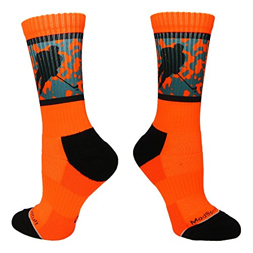 Hockey Player Crew Socks (Neon Orange/Black, Small)
