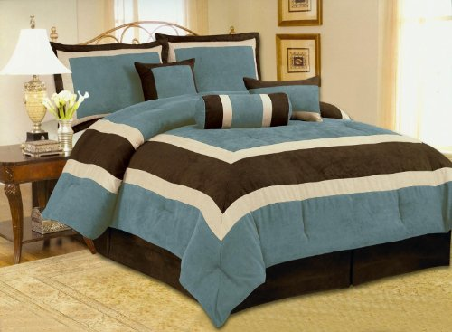 hot sale 2017 7pc Soft Micro Suede Comforter Set Bedding-in-a-bag, Aqua Blue - Queen 90x94""