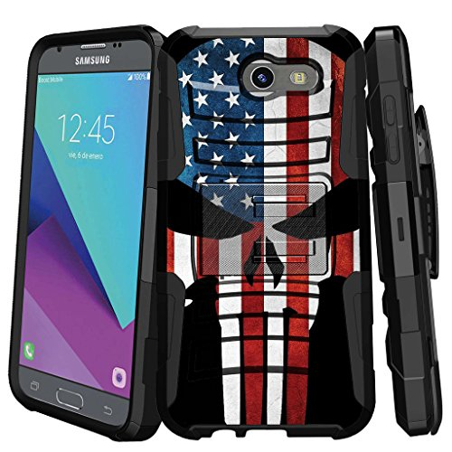 MINITURTLE Compatible with Samsung Galaxy J3 Emerge | J3 Prime | J3 Eclipse | Luna Pro 2017 [Clip Armor] Rugged Hard Shell Case w/Stand and Holster American Flag Skull