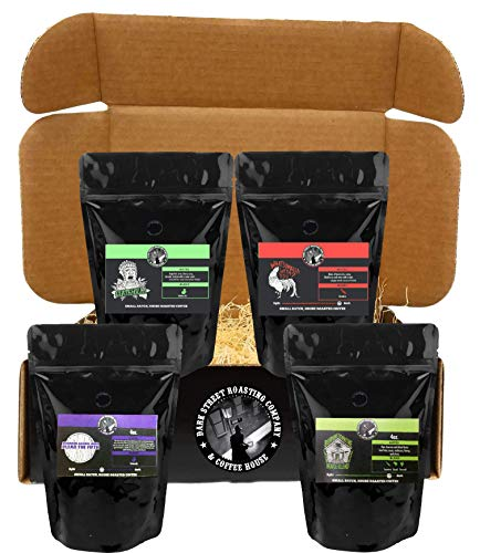 Variety Pack Bean - Whole Bean Coffee 3 Bag Gift Set With BONUS 1 Whiskey Barrel Aged Specialty Coffee, 4x4 oz Bundle, From Dark Horse Brewery, 16oz (1lb, pound)