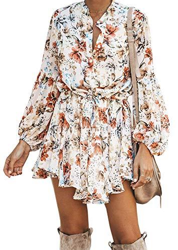 ROVLET 여자의 꽃 BOHO V-목 단추 아래로 긴 소매 프릴 탄성 허리 인쇄 미니 드레스 비치 SUNDRESS
