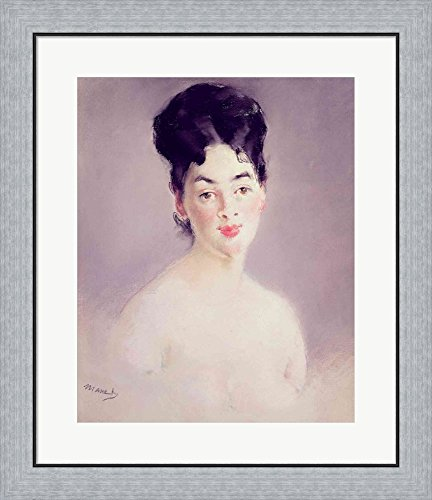 Bust of a Young Female Nude, c.1875 by Edouard Manet Framed Art Print Wall Picture, Flat Silver Frame, 24 x 28 inches