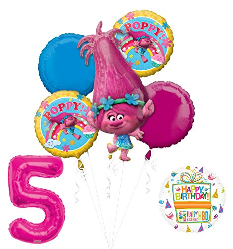 Mayflower Products NEW TROLLS POPPY 5th Birthday Party Supplies And Balloon Bouquet Decorations