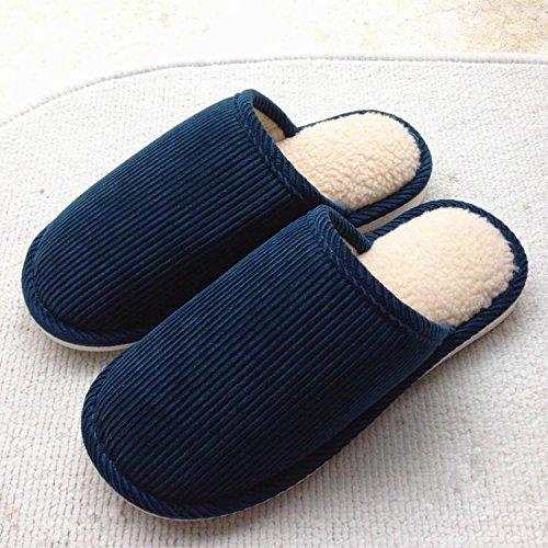 Fankou chaussons coton coton accueil accueil chaussons Chaussons en coton couple plancher antidérapant en faisant glisser les hommes et femmes Chaussons en coton ,39-41, bleu foncé