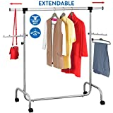 Tatkraft Falcon Heavy Duty Adjustable Clothes Rack, Hanging Rail on Wheels, Chromed Steel, Extendable Length 3,5 - 5,7 Ft and Height 4,5 - 6,1 Ft