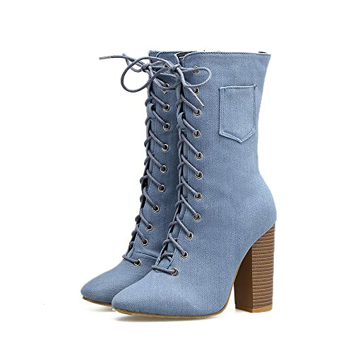 L@YC Women'S Boots autumn and Winter High-Heeled Martin Boots Cross Strap Denim In The Tube Shoes Blue 4NNkZ