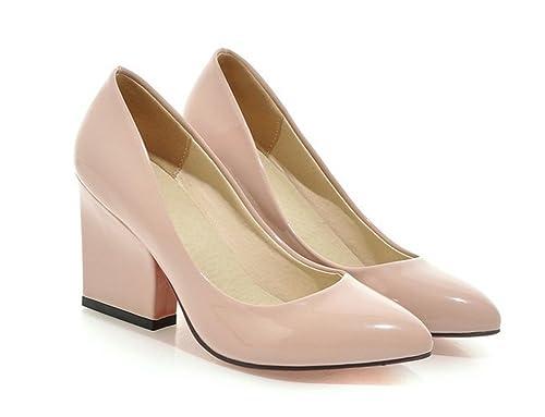 dd95e3ec0edc7 Aisun Women's Trendy Patent Leather Slip On Pumps Block High Heels Shoes