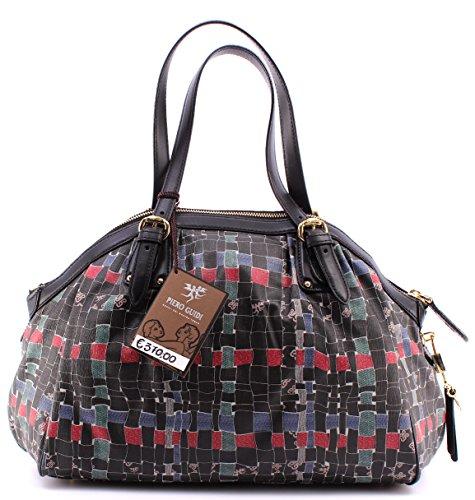 Borsa Mano Donna PIERO GUIDI Intreccio Hand Bag Leather Black Pelle Nera Italy