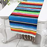Smurfs Yingda Mexican Serape Table Runner Fringe Cotton Table Runner(Pack of 2, Blue)