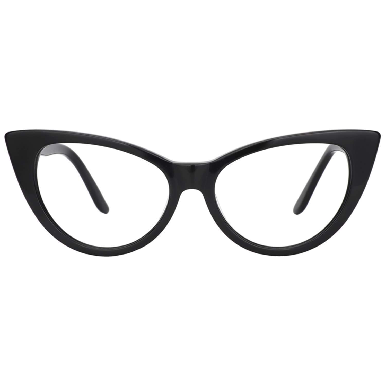 8c736045e6 Amazon.com  Zeelool Acetate Vintage Cat Eye Glasses for Women Marilyn  FP0049-01 Black  Clothing
