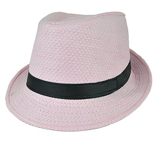 [Fedora Pink Large Hat Diamond Top Black Pimp Gangster Straw Woven Trilby Gatsby] (Pimp Hat With Feather)