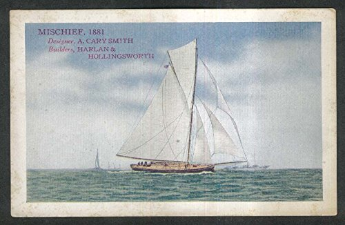Mischief 1881 5th Race for America's Cup Edward Smith & Co advertising postcard