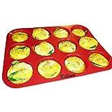 Keliwa 12 Cup Silicone Muffin - Cupcake Baking Pan / Non - Stick Silicone Mold / Oven - Microwave - Dishwasher Safe Safe