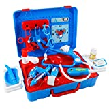 ADESHOP Educational Learning Toys, Pretend Play Medical Set Case Doctor Nurse Game Playset with Cartoon Carry Case for Kids Over 3 Years Old