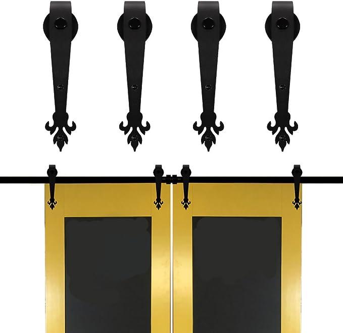 winsoon envejecido acero negro doble puerta corrediza de granero ...