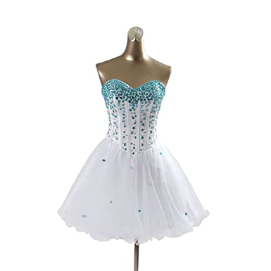 CEZOM White Short Prom Dresses with Blue Crystals - -