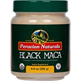 Organic Black Maca 8.8oz (250g) - Peruvian Naturals | Certified-Organic Black Maca Root Powder from Peru for Libido and Energy