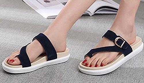 Pantoufles Cuir Slip Bleu Chaussures Soft Léger on Runyue Flat Foncé Casual Sandales Antidérapant Faux Femmes pour wFgvnqX
