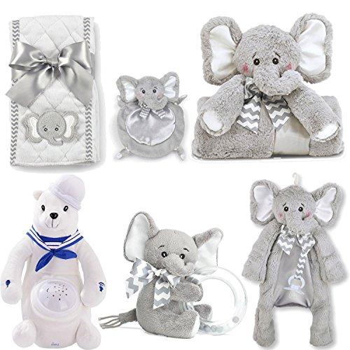Ultimate Baby Shower Gift Set Includes Dimple Polar Bear Nightlight Soother, Bearington Lil Spout Burp Cloth, Paci Clip Holder, Stroller & Security Blanket, 5