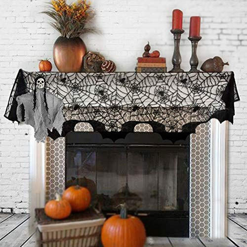 OTBBA Halloween Decorations, Spiderweb Fireplace Mantle Scarf Black Lace Cobweb Cover 20'' X 80'' with One Hanging Ghost for Halloween Party Decoration by OTBBA