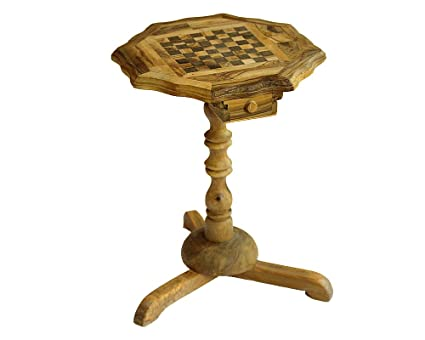 Olive Wood Rustic Chess Board 10 Inch With Stand 6 Inch