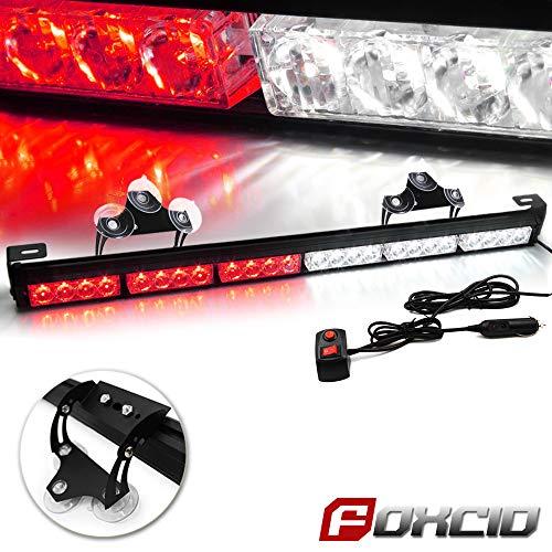 FOXCID 24 LED White Red 13 Modes Emergency Warning Traffic Advisor Vehicle LED Strobe Light Bar with Large Suction Cups and Cigarette Lighter ()