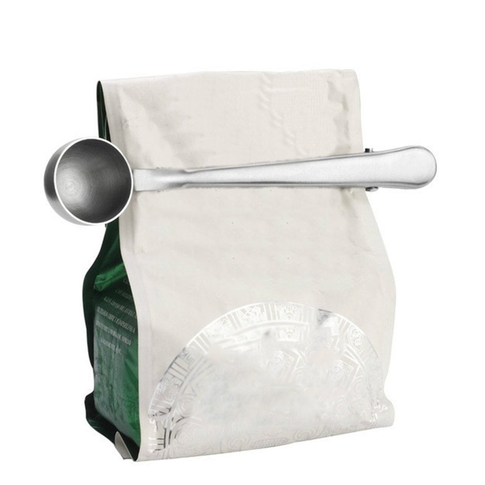 dds5391 Waterproof Durable Stainless Steel Kitchen Coffee Measuring Spoon Bag Sealing Clip Spoon - Silver
