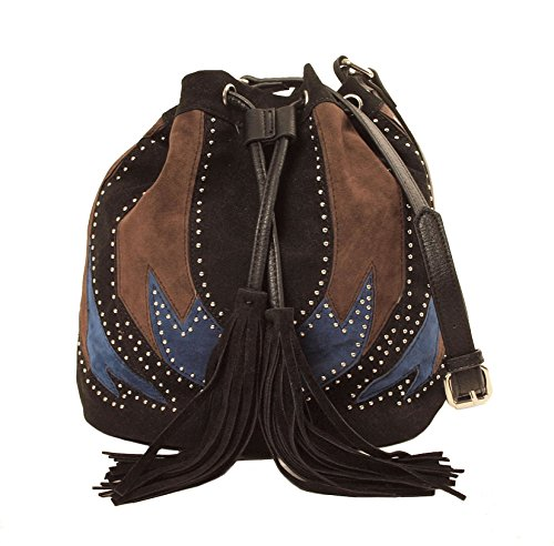 Imoshion Pieced Bag with Studs and Fringe Blue Combo