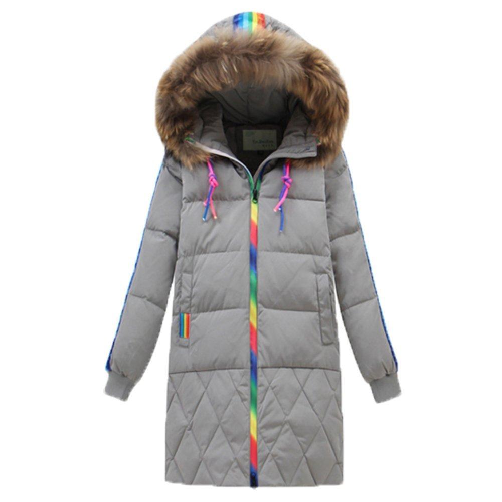 gris 140cm OHmais Unisexe enfant garçon fille veste d'hiver hommeteau à capuche