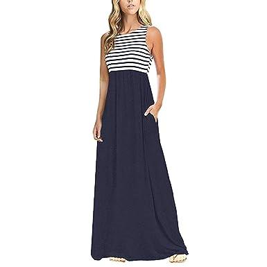 99cae5da87b4a9 Subfamily® Frauen hohe Taille Elegante Kleider Bodenlanges Kleid rückenfrei  Sexy Long Beach bunten Dress elegant