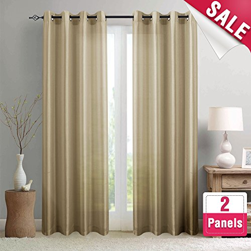 Faux Silk Satin Curtains 84 inch Length for Bedroom Window Curtain Panels Dupioni Light Reducing Drapes for Living Room Window Treatment Set, Grommet Top, 1 Pair, Taupe (Set Room Taupe Living)