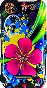 PiGGyB Case for Motorola Photon Q 4G LTE Dark Pink Flower BLUE Yellow Hard