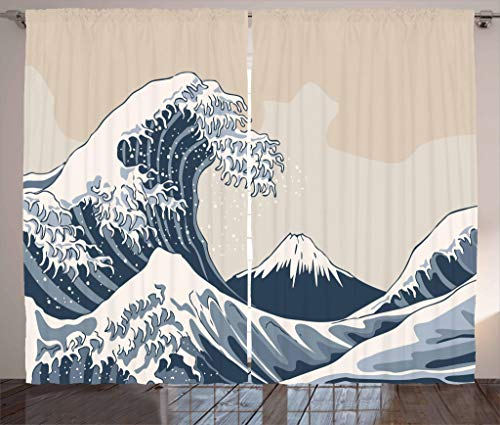 Lunarable Wave Curtains, Oriental Culture Hand Drawn Asian Style Japanese Motifs Illustration Great Wave, Living Room Bedroom Window Drapes 2 Panel Set, 108 W X 84 L Inches, Blue Grey Beige